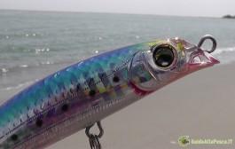 Azione di pesca a Spinning in mare